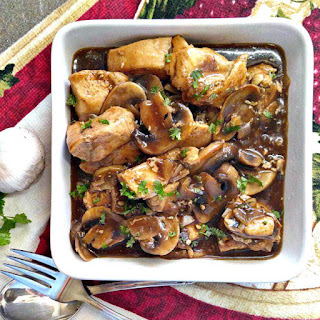 Balsamic Chicken and Mushrooms in a Garlic Cream Sauce.