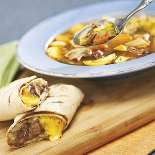Hearty Beef and Vegetable Soup With Cheddar Beef Wraps.
