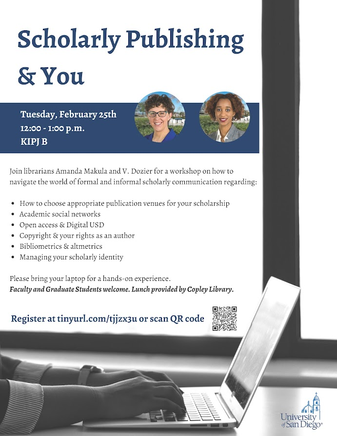 Scholarly Publishing and You, Tuesday, Feb 25 at 12-1pm in KIPJ B