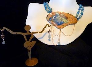 Photo: <BEREHYNYA> {Great Goddess Protectress} unique one-of-a-kind statement jewellery by Luba Bilash ART & ADORNMENT  ANDROMEDA ~ АНДРОМЕДА - copper enamel pendant, aqua jade, rose gold vermeil $180/set SOLD
