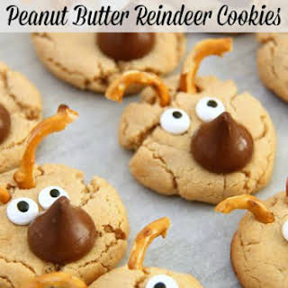 Hershey's Kisses Peanut Butter Reindeer Cookies.