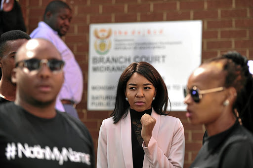 Busisiwe 'Cici' Thwala outside court.