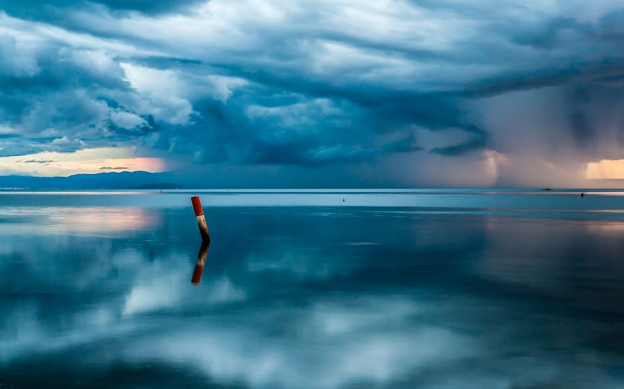 Reflections by Willy Sanson - Landscapes Weather ( sunset, sea, seascape, landscape, italy,  )