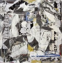 """Photo: Appealing Breed (oil, wall paper and thumbtacks on canvas) 52x52"""" 2014"""