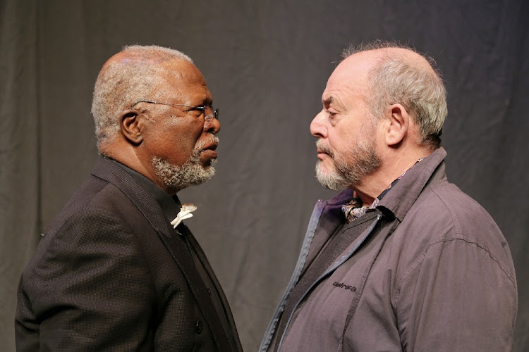 John Kani and Robert Whitehead star in Congo: The Trial of King Leopald 2, directed by Lesedi Job. Picture: THANDILE ZWELIBANZI