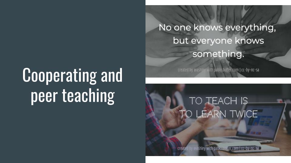 Cooperating and peer teaching.