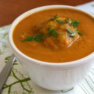 Roasted Vegetable Soup with Herb Dumplings