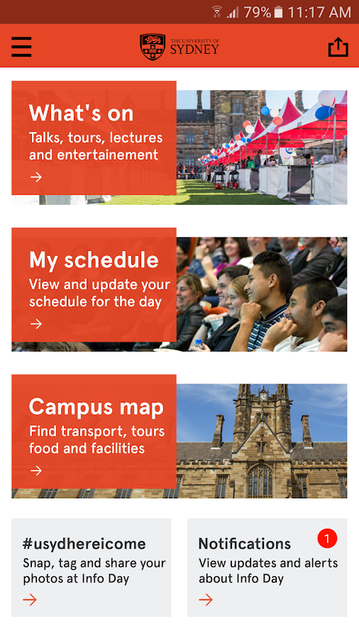 University of Sydney Info Day- screenshot
