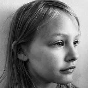 Young girl by Lauren DeJarnatt Yoder - Babies & Children Child Portraits ( girl, black & white, young, profile,  )