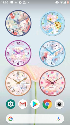 analog clock widget flowery kiss screenshot 2
