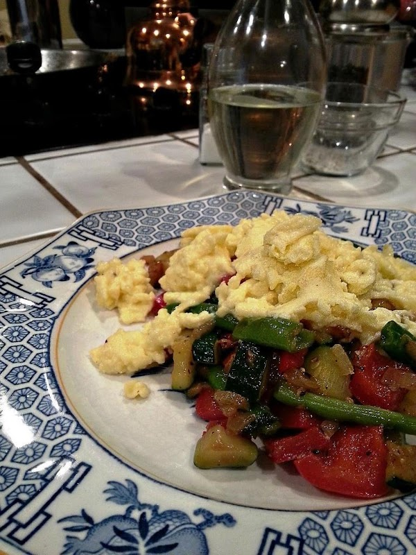 Place cooked vegetables on plate and top with your eggs.  Easy peasy!