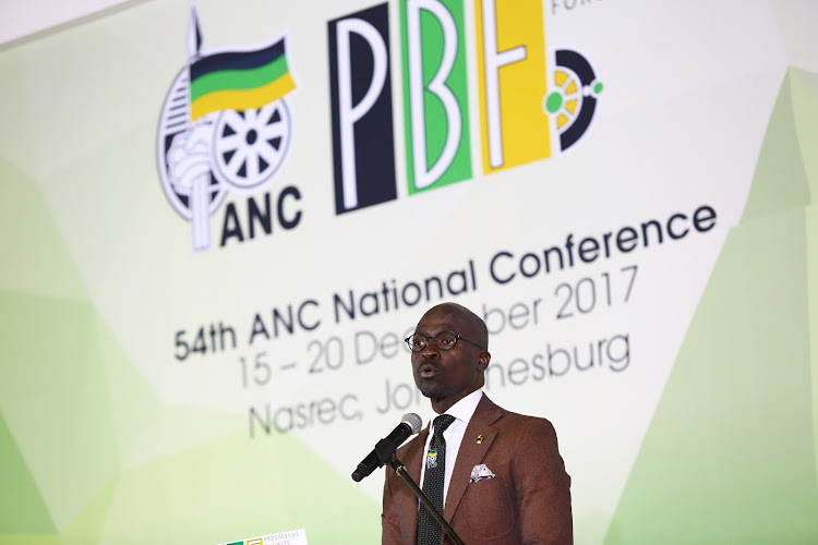 Finance Minister Malusi Gigaba addresses delegates during the Progressive Business Forum breakfast on the sidelines of the 54th ANC Elective National Conference taking place in Nasrec.