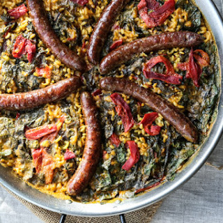 Easy Spanish Paella with Saffron, Merguez and Chard