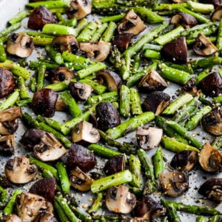 Roasted Asparagus and Mushrooms with Everything Bagel Seasoning.