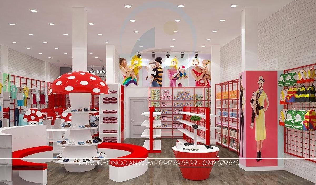 thiết kế nội thất shop thời trang mẹ và bé