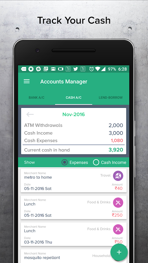 mTrakr Money Manager- screenshot
