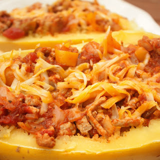 Spaghetti Squash with Turkey and Veggies.