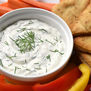 Dreamy Dill Dip with Baked Pita Wedges.