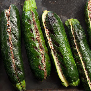 Vegan Quinoa-Stuffed Grilled Zucchini