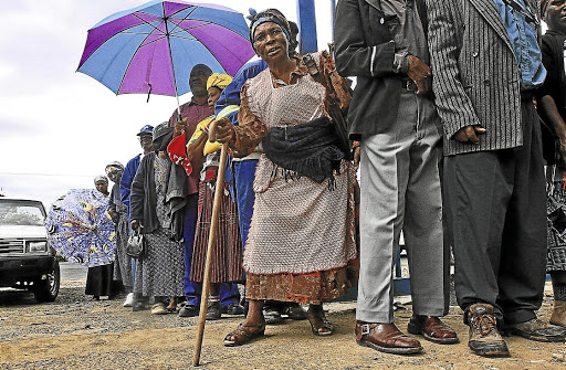 Lifeline: Old people queue for social grants  in Sterkspruit, Eastern Cape.   NGOs Corruption Watch, Black Sash and Equal Education have worked closely with  social-grant beneficiaries such as these for   years.Picture: SUPPLIED