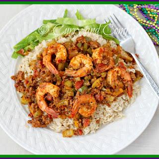 Cajun Shrimp and Sausage over Rice.
