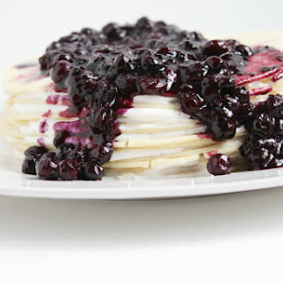 Gluten Free Crepe Cake with Wild Blueberry Topping