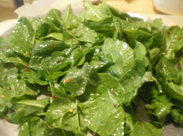 Place chard on baking sheets covered with parchment paper - single layer.