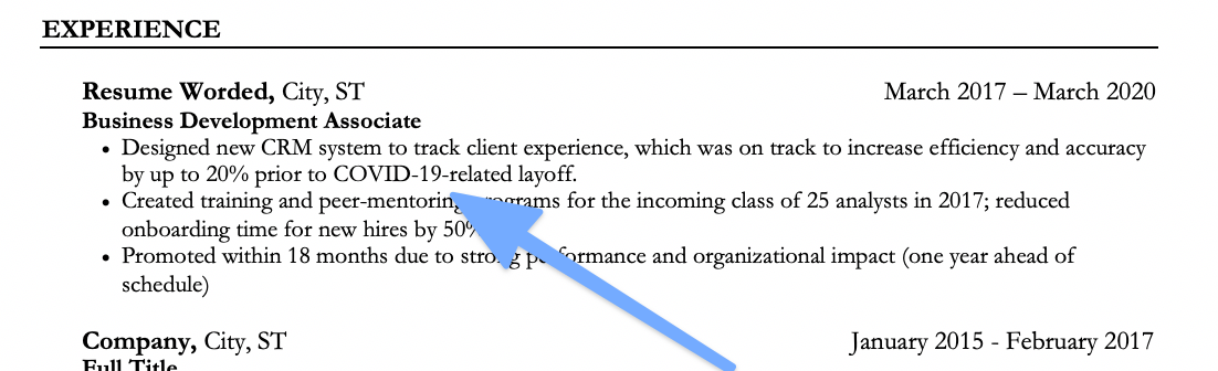 How to mention a recent gap on your resume due to a layoff