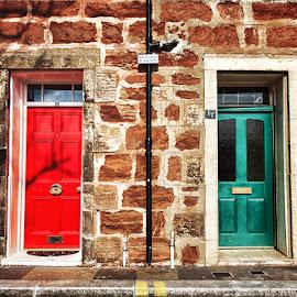 8487 by Zsolt Zsigmond - Buildings & Architecture Architectural Detail ( doors, red, bricks, door, green, wall, architecture )