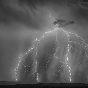 Arizona High Desert Lightning by Bryan Snider - Landscapes Weather ( lightning strike, strike, lightning, bolt, desert, thunderstorm, monsoon, arizona, weather, high desert, storm, rain )