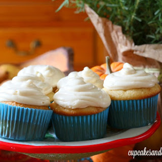 Salted Caramel Cider Cupcakes with Pumpkin Cream Cheese Frosting