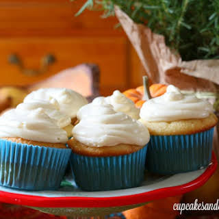 Salted Caramel Cider Cupcakes with Pumpkin Cream Cheese Frosting.