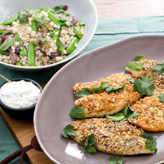 Dukkah-Crusted Catfish with Sugar Snap Pea & Couscous Salad