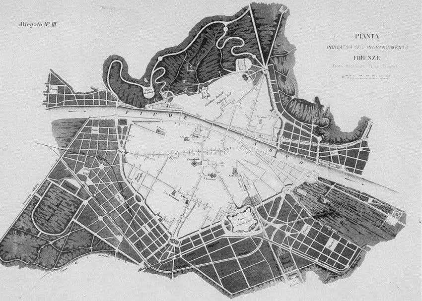 """Poggi city plan, uit: """"Sui lavori per l'igrandimento di Firenze, Relazione di Giuseppe Poggi (1864-1877)"""", Barberà, Firenze 1882"""