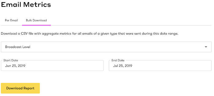 Bulk Download of email metrics