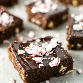 Peppermint Brownies with Chocolate Ganache.