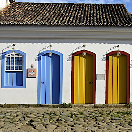 Colourful Homes. by Marcel Cintalan - Buildings & Architecture Homes ( doors, orange, brazil, blue, buildings, windows, architecture )