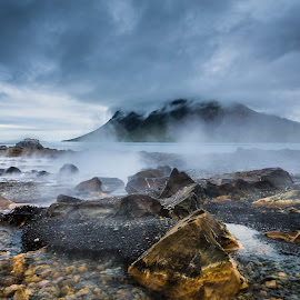 Hot Water to the Sea by Palmi Vilhjalmsson - Landscapes Waterscapes ( west iceland, iceland, snæfellsnes, geisir, bjarnarhafnarfjall, kolgrafarfjordur )