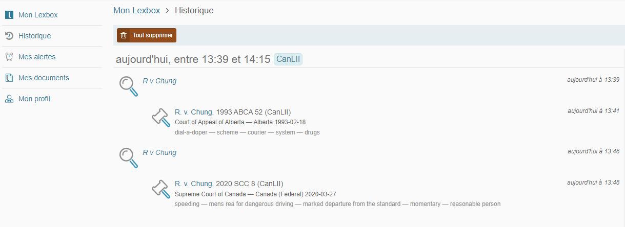 """Capture d'écran affichant la page """"Historique récent"""" d'une interface de compte Lexbox."""