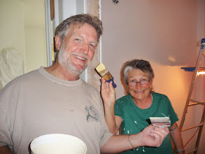 Photo: Kent and Shraddha add some smiles and paint