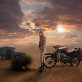 Desert by Frank Quax - Digital Art People ( editorial, sky, motorcycle, faestock, photo, photoshop, desert, manipulation, creative, colors, landscape, transportation )