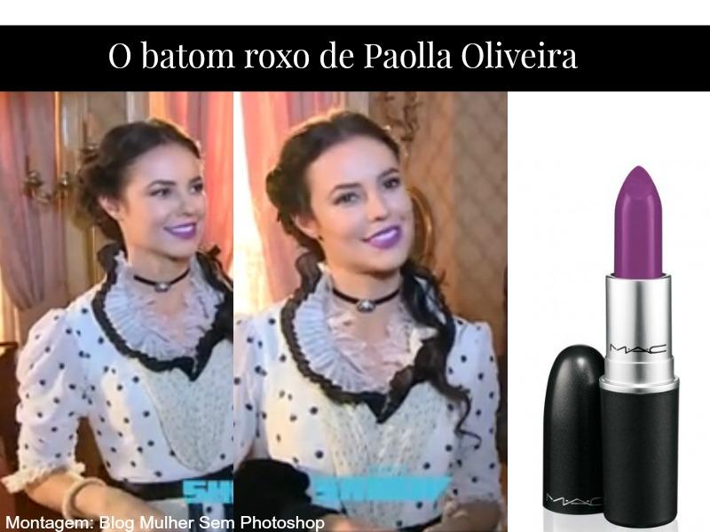 Batom roxo de Paolla Oliveira em Além do Tempo
