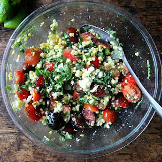 Raw Corn Salad with Tomatoes, Feta, and Herbs Recipe