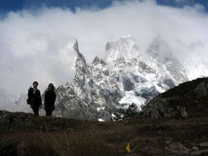 Photo: ... we arrive at a glorious viewpoint of knife-edged Aiguille Noir with Mt. Blanc in clouds behind.