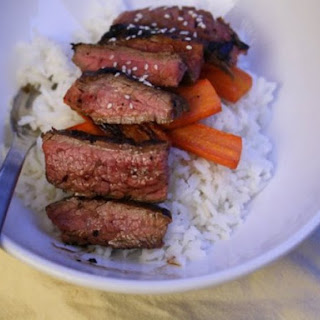 Rice Bowl with Miso-Marinated Flank Steak.