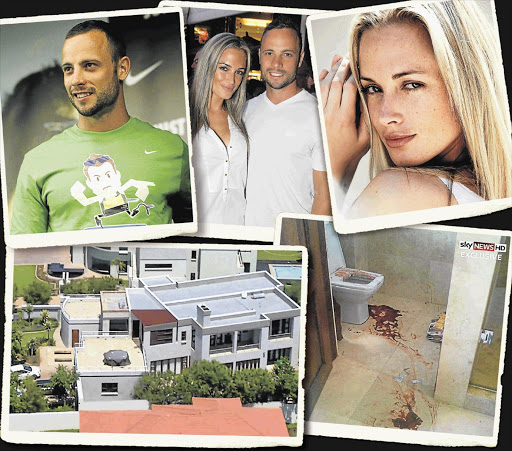 GRIM SCENE: Oscar Pistorius and Reeva Steenkamp, top, and the home in a luxury estate in eastern Pretoria where he shot her in the early hours of Valentine's Day last year, bottom left. On the right is the scene of the shooting, an enclosed toilet inside the master bathroom