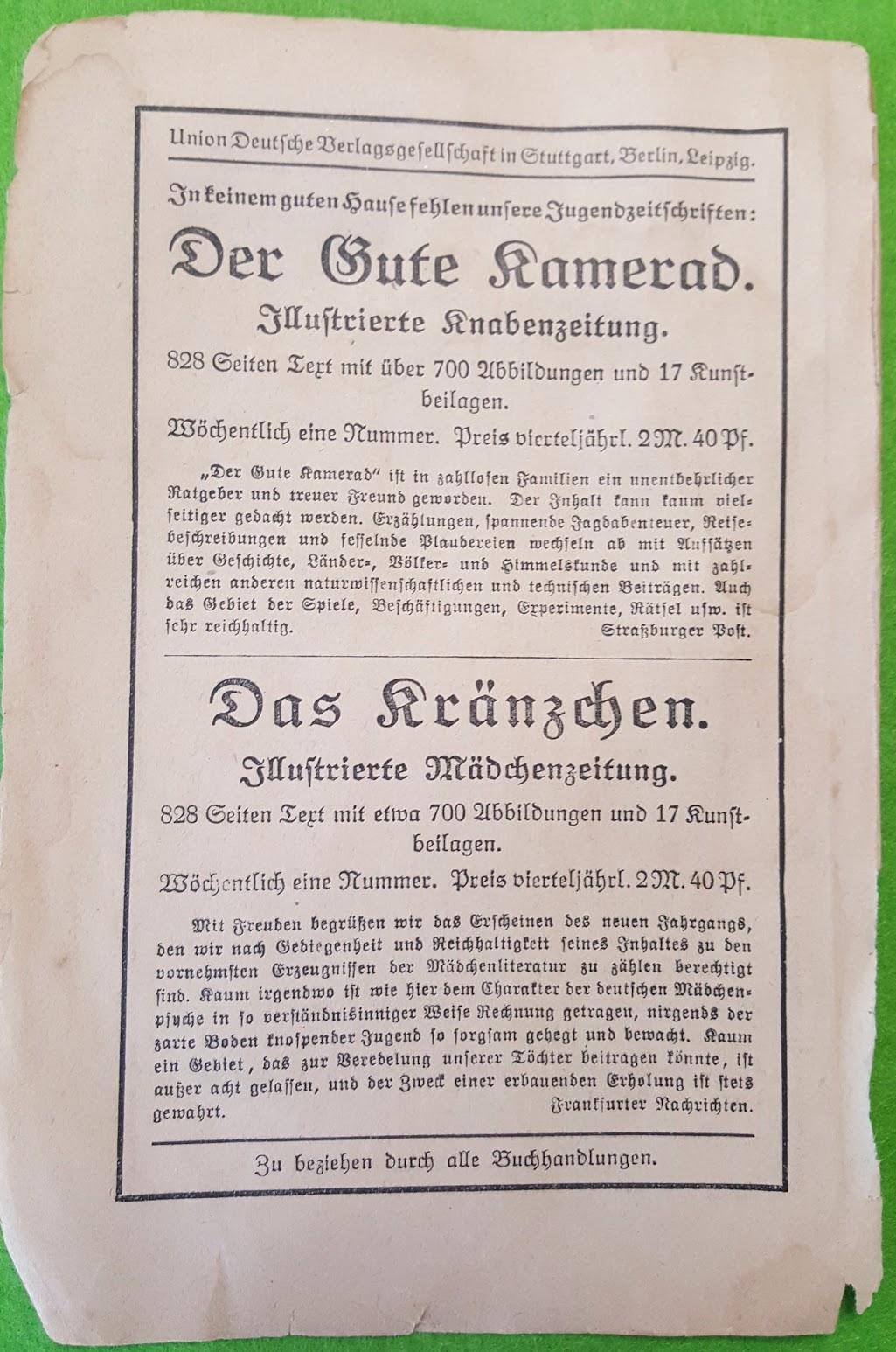 Jugendzeitschriften um 1900, Der Gute Kamerad, Das Kränzchen