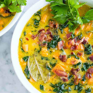 Creamy Sweet Potato Bacon Chowder (Dairy Free) Recipe