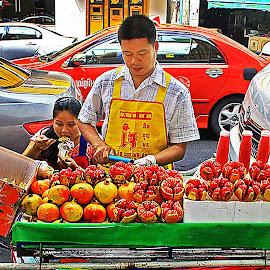 Pomegranate Fruit Seller Thailand by James Morris - Food & Drink Fruits & Vegetables ( seller, exotic fruit, fruits, fruit, pomegranate, thailand, fruits and vegetables )