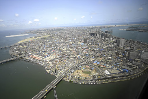 An aerial view of Lagos Island in Lagos, the commercial capital of Nigeria. Picture: ADEDEKUNLE AJAYI/NURPHOTO